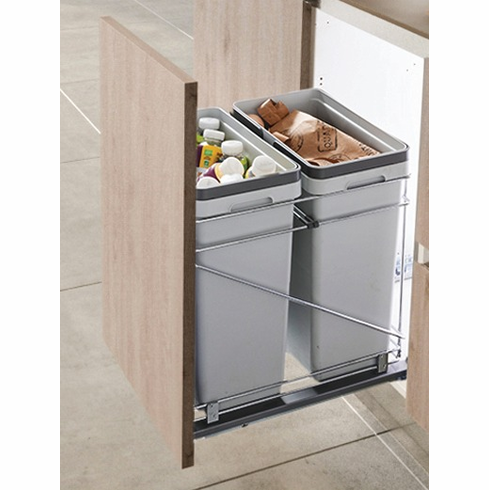 """Hafele 503.00.521 Salice QPAM15228C 15"""", double pullout, silver, 498mm X 381mm X 495mm (each)"""