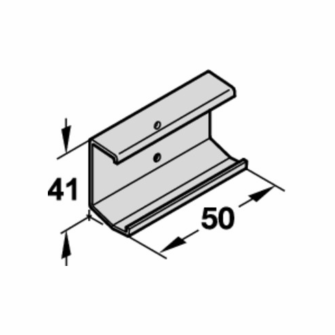 Hafele 405.70.090 EKU Clip Profile, for wood front panel, 50 x 41, aluminum (each)