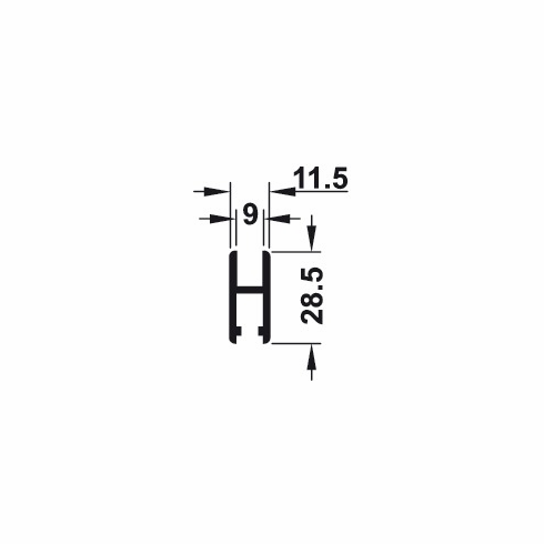 Hafele 415.12.925 Glass Profile, aluminum, silver anodized, 2.5 meters (each)