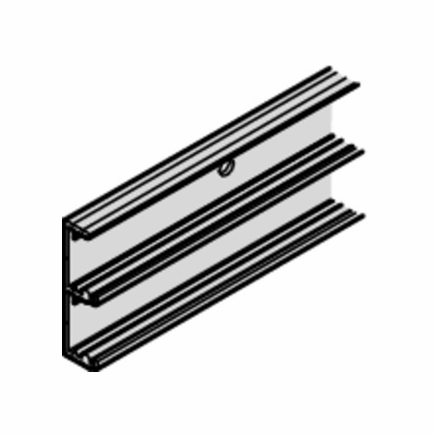 Hafele 403.33.926 Double Bottom Running Track for EKU Combino L 40, aluminum, silver anodized, 2.5 meters (each)