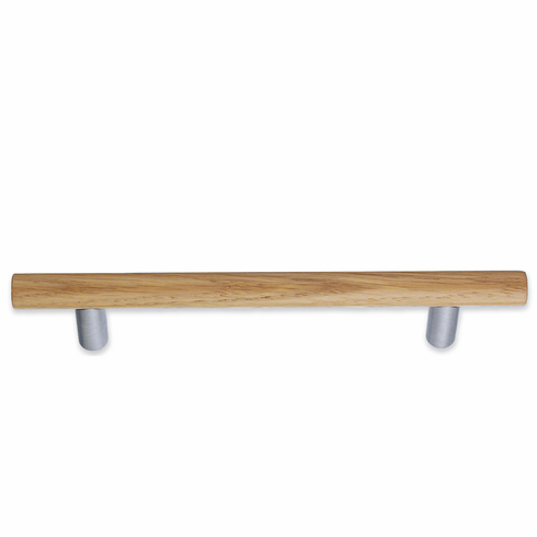 Smedbo Beslagsboden B6041 Oak Pull 5 1/8 inch Brushed Chrome/Oak
