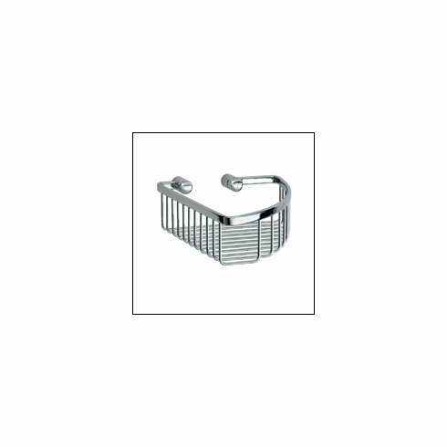 Smedbo LK374 Loft Soap Basket, Polished Chrome. Depth=3 inch, Width= 8 inch, Height= 9.5 inch.