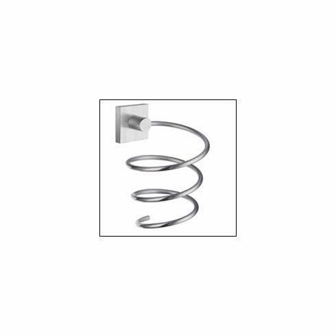 Smedbo RS323 House Hairdryer Holder Brushed Chrome Depth=4.25 inch, Width= 5.75 inch, Height= 8.25 inch.