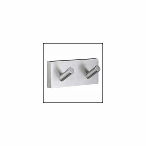 Smedbo RS356 House Double Towel Hook Brushed Chrome Depth=1.75 inch, Width= 2 inch, Height= 6.25 inch.
