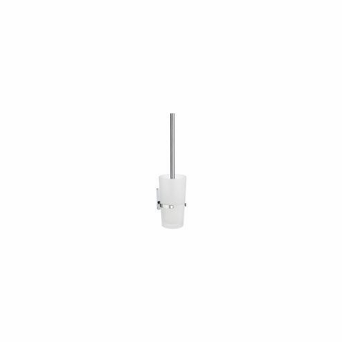 Smedbo ZK333 Pool Toilet Brush W Frosted Class Container Depth=4.25 inch, Width= 4.75 inch, Height= 15.5 inch.