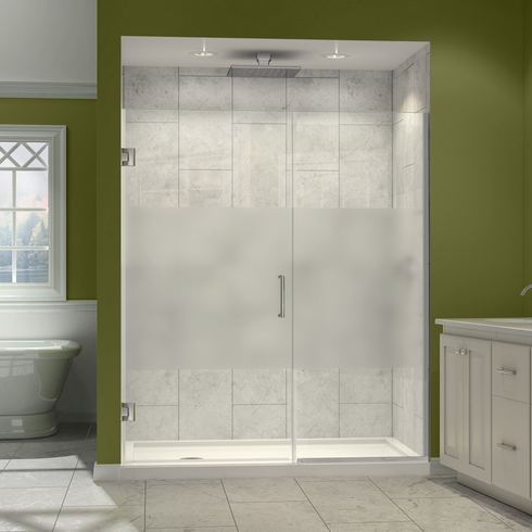 "Dreamline SHDR-242907210-HFR-01 Unidoor Plus Min 29"" to Max 29-1/2"" W x 72 in. H Hinged Shower Door, Half Frosted Glass Door, Chrome Finish Hardware"