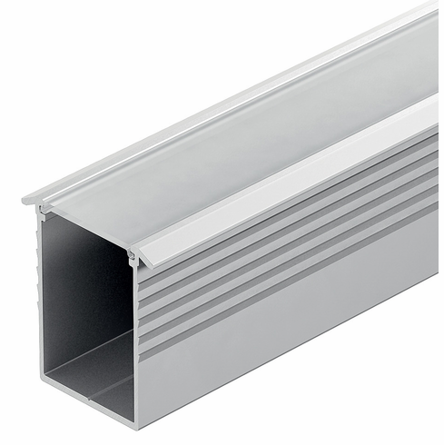 Hafele 833.74.819 LOOX Profile for LED, deep recessed with milk lens, aluminum, anodized, 23 x 26mm, 2.5m