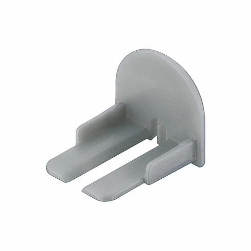 Hafele 833.74.824 Loox End Cap, for shallow surface round extrusion 833.74.814, plastic, silver (1 pair)