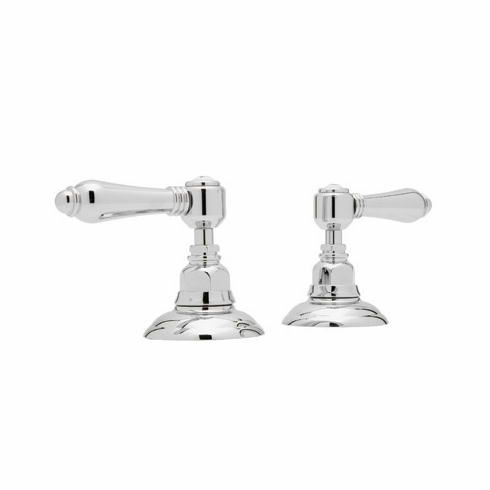 ROHL A7422LCSTN Rohl Country Bath Pair Of 3/4^ Hot And Cold Sidevalves Only In Satin Nickel With Crystal Levers For Deck Mounted Tub Fillers