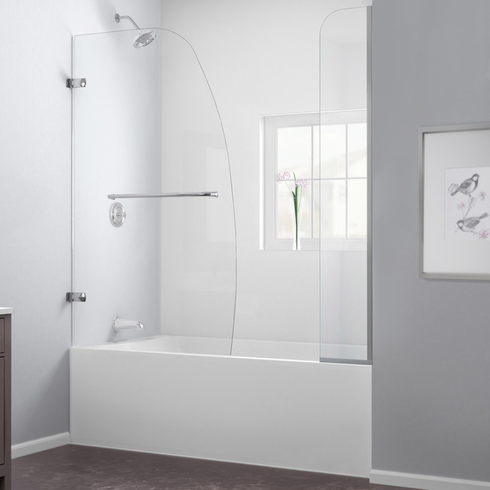 Dreamline SHDR-3534586-EX-04 Aqua Uno 56 to 60 in. W x 58 in. H Hinged Tub Door, Brushed Nickel Finish Hardware