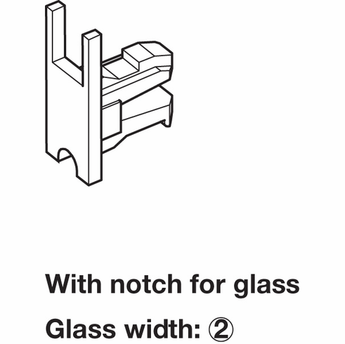 Hafele 415.13.021 End Cap, with notch for glass, plastic, chrome plated, matt (each)