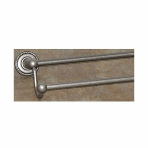 """Top Knobs ED11APF Edwardian Bath 30"""" Double Towel Bar - Antique Pewter - Rope Backplate"""