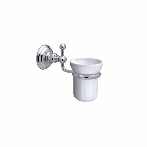 ROHL A1488STN Rohl Country Bath Wall Mounted Single Tumbler Holder In Satin Nickel With White Porcelain Tumbler
