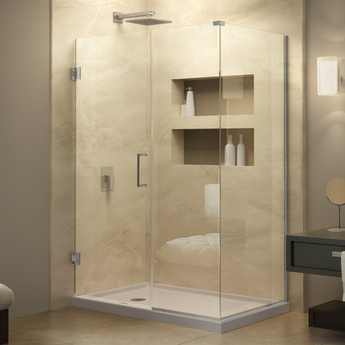 Dreamline SHEN-24570340-01 Unidoor Plus 57 in. W x 34-3/8 in. D x 72 in. H Hinged Shower Enclosure, Chrome Finish Hardware