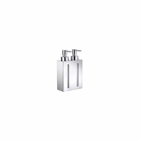 Smedbo FK258 Outline Soap Dispenser Wall Mount 2 Pumps Polished Chrome Depth=3.5 inch, Width= 5.25 inch, Height= 11 inch.