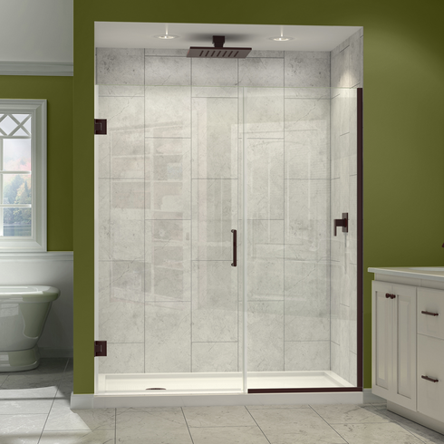 "Dreamline SHDR-245007210-06 Unidoor Plus Min 50"" to Max 50-1/2"" W x 72 in. H Hinged Shower Door, Oil Rubbed Bronze Finish Hardware"