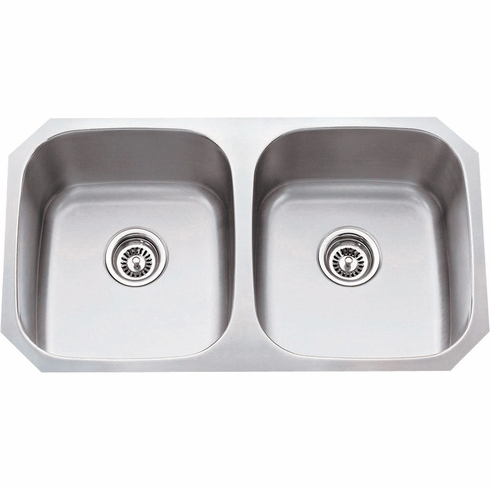 802-18 Stainless Steel (18 Gauge) Kitchen Sink with Two Equal Bowls