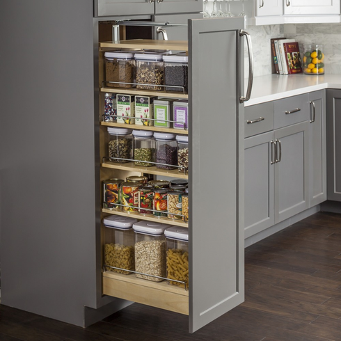 "PPO2-1154 Pantry Cabinet Pullout 11-1/2"" x 22-1/4"" x 53"". Featuring heavy duty 400lb ball bearing sl"