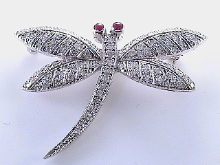 1.20 Carat Diamond & Ruby Dragonfly Pin