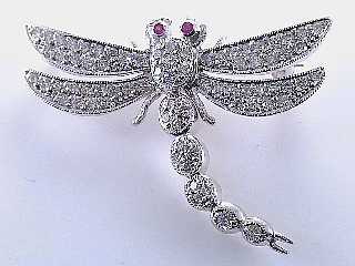 1.06 Carat Diamond & Ruby Platinum Pin