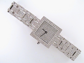 7.10 Carat Square Face Custom Diamond Watch