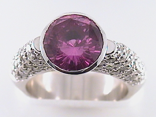 4.0 Carat Pink Sapphire & Dome Style Diamond Ring SOLD