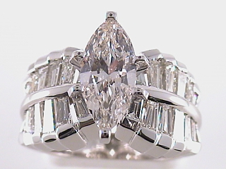 2.57 Carat Marquise Cut Diamond Engagement Ring SOLD