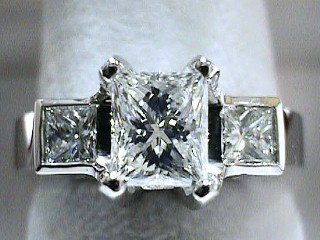 1.61 Carat EGL Three Princess Cut Diamond Engagement Ring SOLD