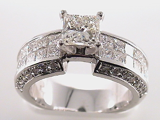 3.87 Carat EGL Princess &  Diamond Engagement Ring SOLD