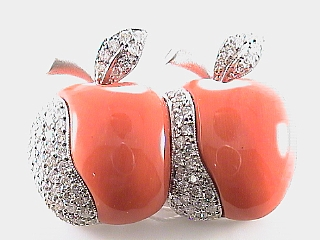 1.05 Carat Diamond & Coral Apple Pin