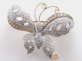 2.21 Carat Diamond Butterfly 18K Gold Pin