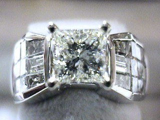 3.64 Carat Princess Cut Invisible Diamond Ring SOLD