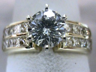 2.53 Carat Round & Princess Diamond Engagement Ring SOLD