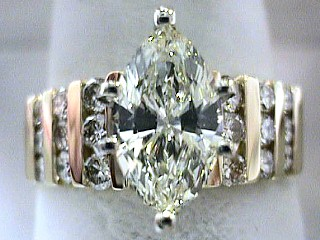 2.51 Carat Marquise & Channel Set Diamond Engagement Ring SOLD