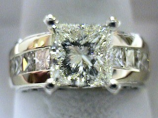 2.45 Carat Princess Cut Engagement Solitaire With Side Detailing SOLD