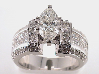 3.20 Carat Invisible Marquise Diamond Engagement Ring SOLD
