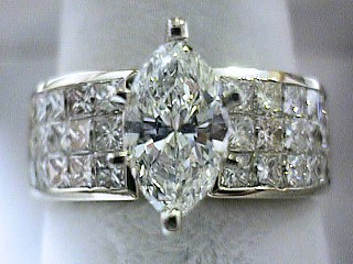 2.80 Carat Marquise & Invisible Diamond Engagement Ring SOLD