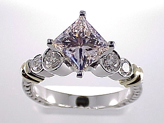2.66 Carat Star Set Princess & Round Bezel Diamond Ring SOLD