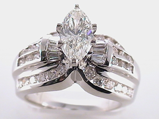 2.88 Carat Marquise Cut Diamond Engagement Ring SOLD