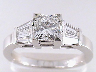 1.58 Carat Princess & Baguette Diamond Engagement Ring SOLD