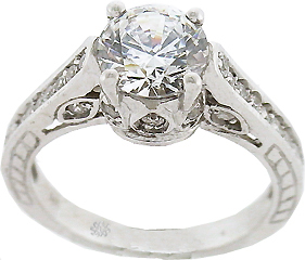 1.53 Carat Deborah Diamond 14Kt White Gold Engagement Ring
