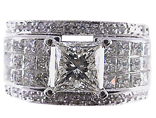 3.50 Carat Jenica Diamond 18Kt White Gold Engagement Ring