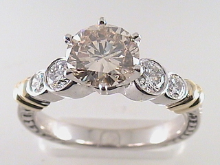 2.11 Carat Champagne Round Diamond Engagement Ring SOLD