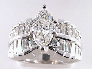 2.60 Carat Marquise Cut Diamond Engagement Ring SOLD