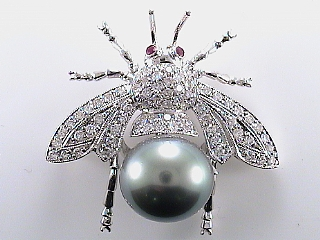 1.30 Carat Diamond & Ruby Insect Pin