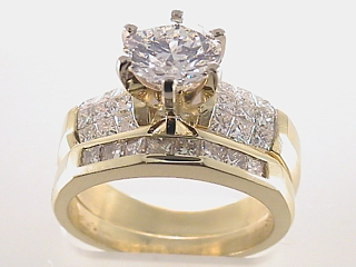 3.01 Carat Round Diamond Invisible Set Engagement Ring & Band SOLD