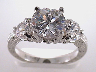 3.02 Carat EGL Three Stone Diamond Engagement Ring SOLD