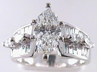 3.27 Carat Marquise Cut Diamond Engagement Ring SOLD