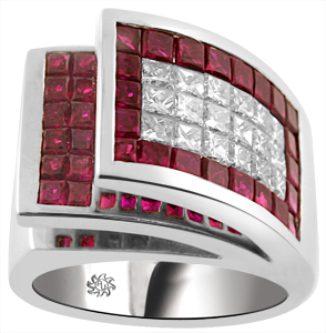 5.35 Carat Invisible Set Fanning Style Ruby & Diamond 14Kt White Gold Ring