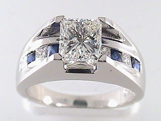 2.16 Carat Princess Cut Diamond & Sapphire Engagement Ring SOLD